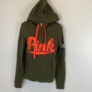 3/$40 Dark Olive Green PINK 1/2 zip hoodie